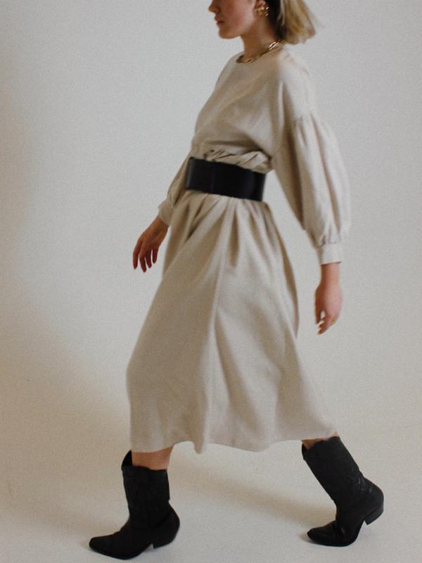 Rita Row Long Sleeved Dress - sand