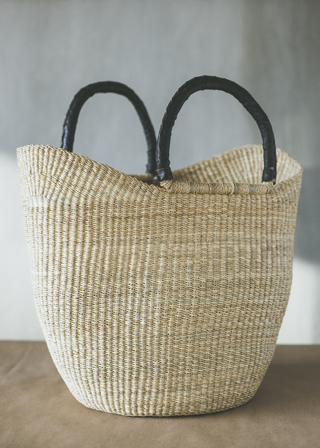 C+L Finds Natural Wing Shopper with Leather Handles