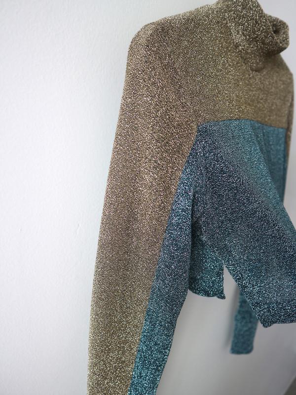 KYE Sparkle Lurex Crop Top - Blue/Gold