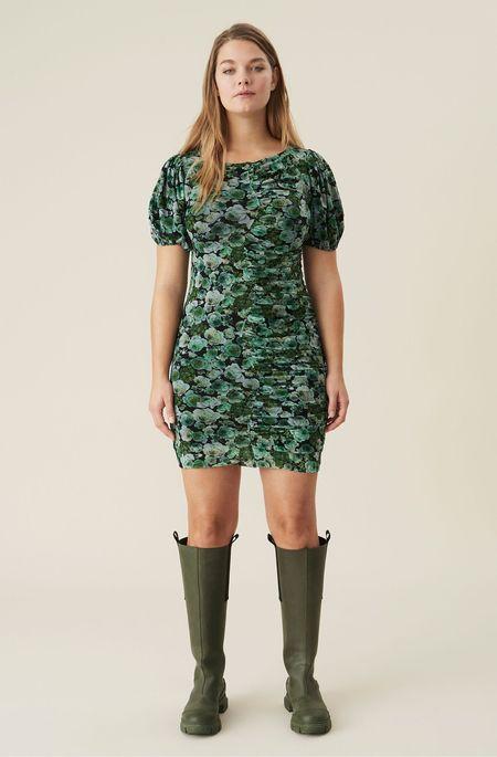 Ganni Printed Mesh Ruched Dress - Kelly Green