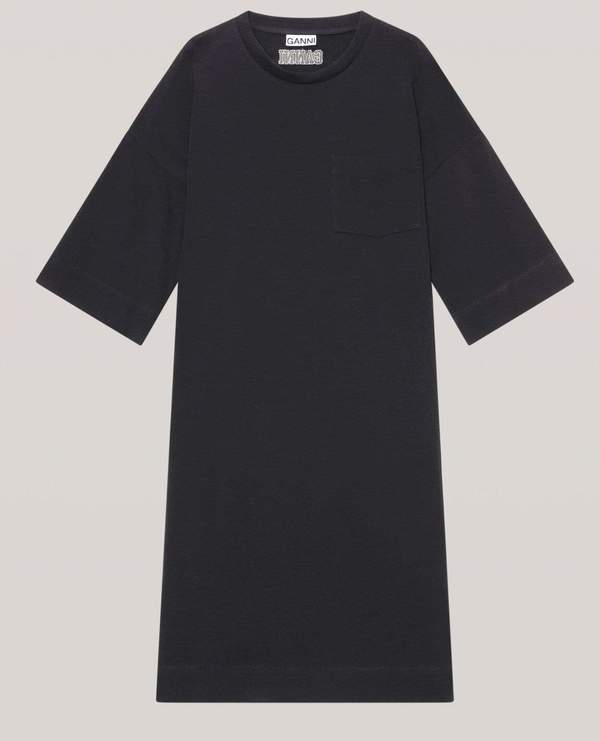 Ganni Software Relaxed T-Shirt Dress - Black