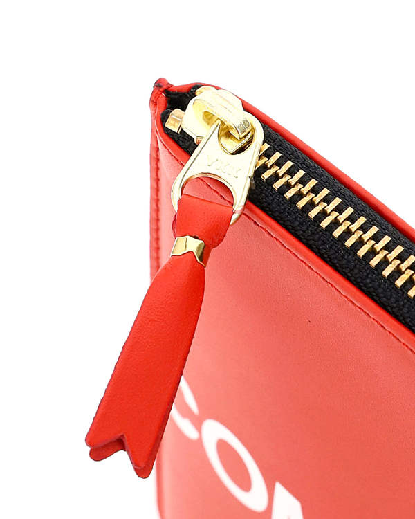 Comme des Garçons Logo Leather Pouch with Zip Wallet - Red
