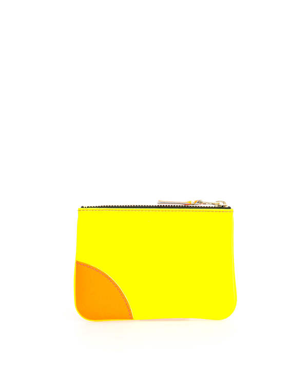Comme des Garçons Leather Pouch with Zip Wallet - Yellow/Pink