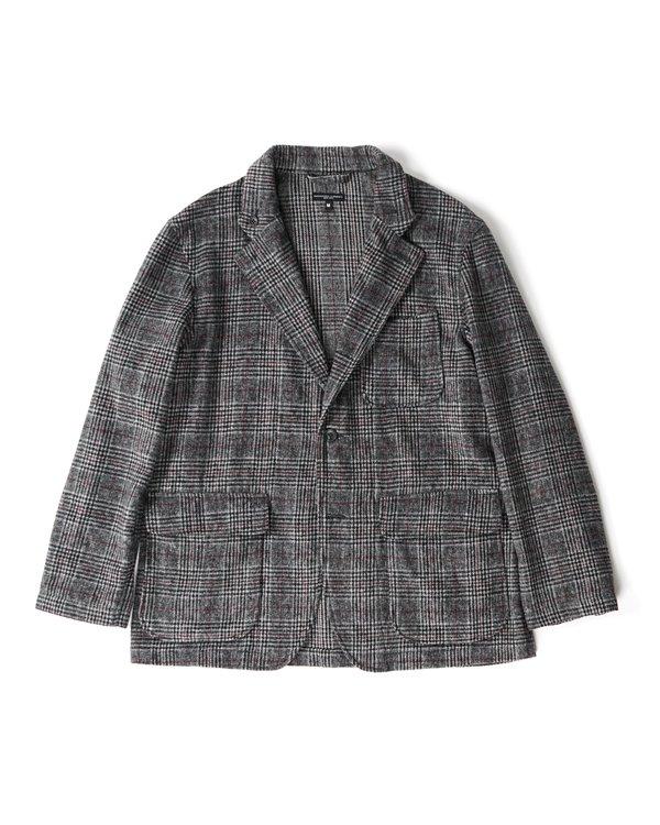 Engineered Garments Loiter Jacket - Grey/Maroon Poly Wool Glen Plaid