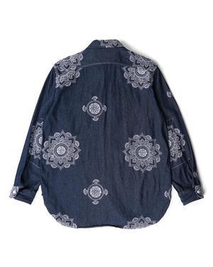 Engineered Garments Work Shirt - Indigo Floral Crest Embroidery Denim