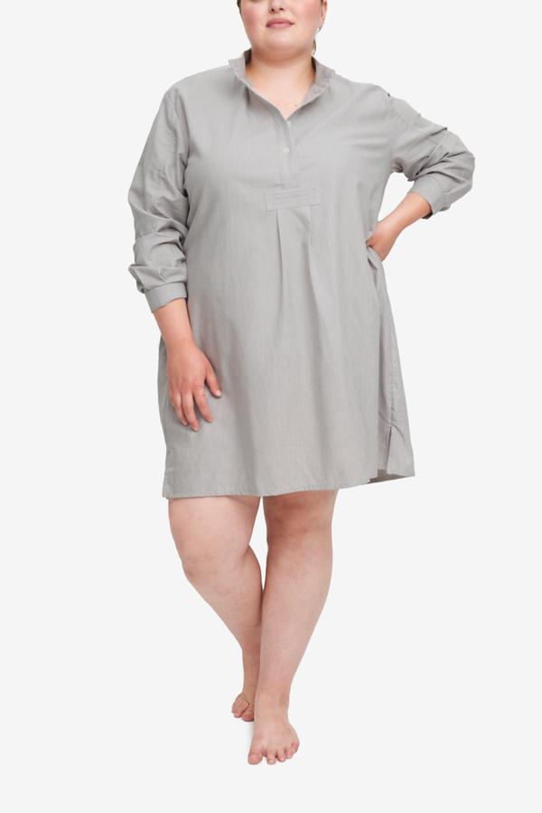 The Sleep Shirt Short Sleep Shirt - Grey Herringbone