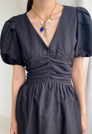 NKC Back Corset Short Dress - Black