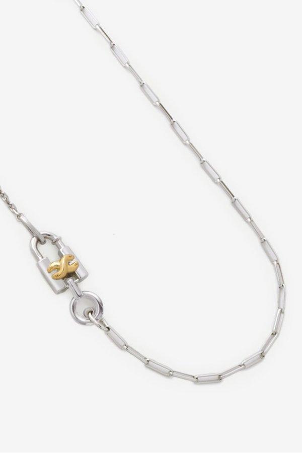 S_S.IL LOCK CHOKER NECKLACE - WHITE GOLD