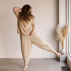Mónica Cordera Cotton Knit Pants - Straw