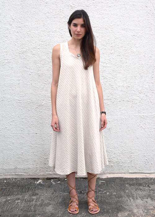 Tienda Ho Zohra Dress in Striped Linen