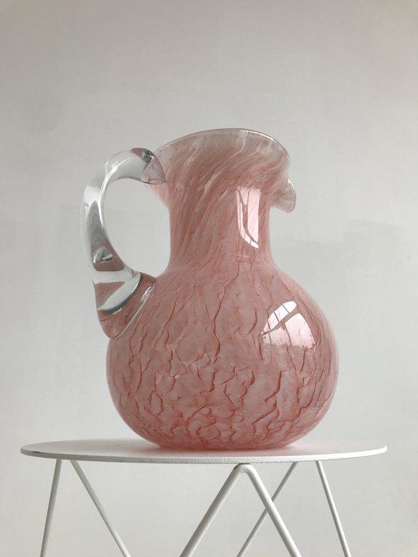 Vintage Blown Glass Pitcher - Pink