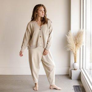 Mónica Cordera Cotton Knit Pants - Silver Green