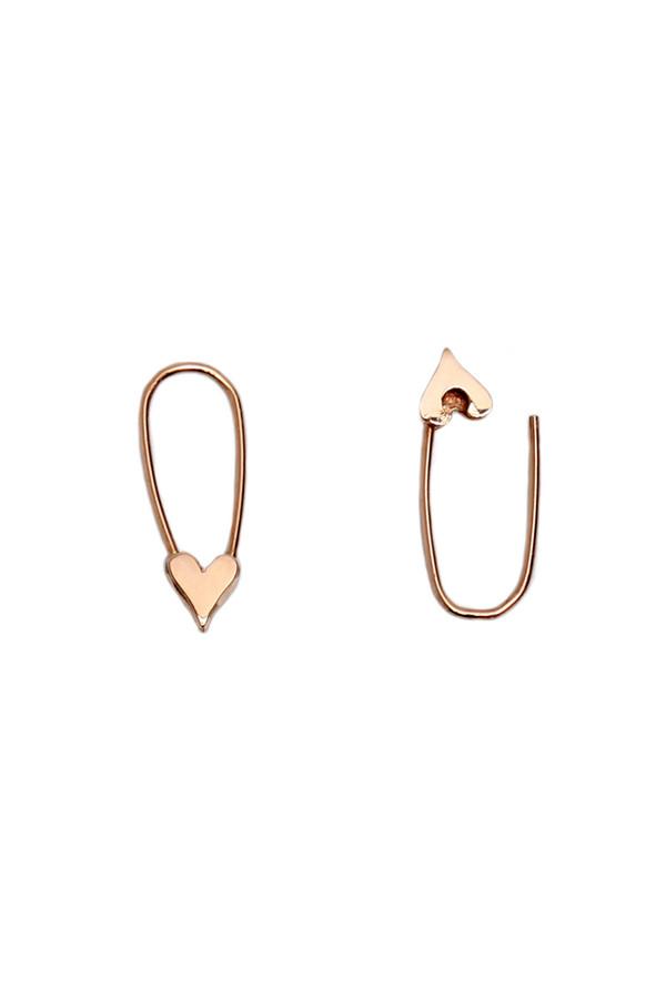 1005a75c9d748 Loren Stewart Mini Heart Safety Pin Earrings on Garmentory