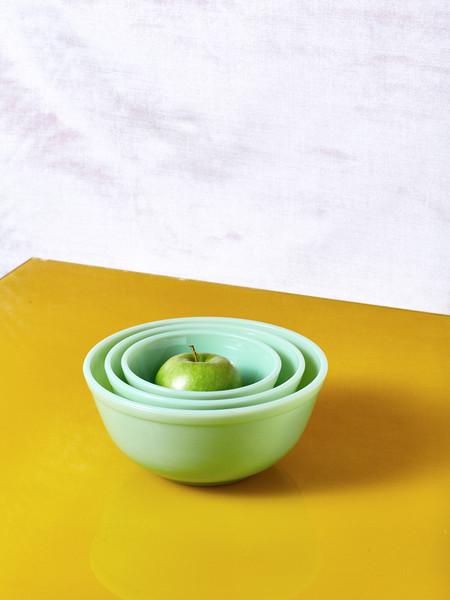 Mosser Glass Milk Glass Mixing Bowl Set of 3 - Jadeite