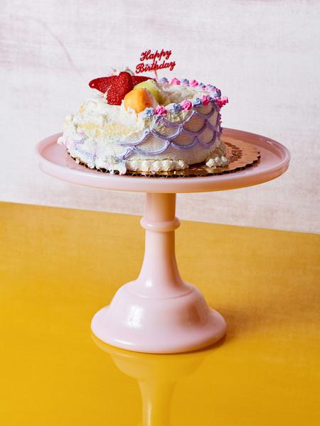 Mosser Glass Milk Glass Cake Stand - Pink