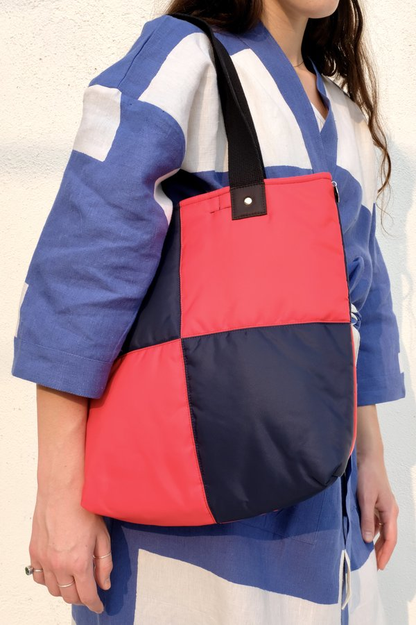 Clare V. Annie Quilted Puffer Tote - Navy/Red