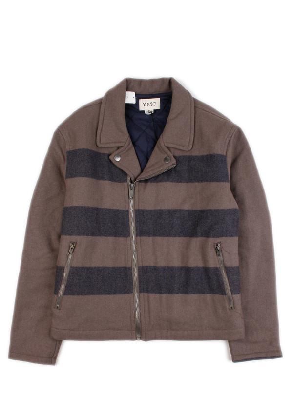 638058015a YMC - Knit Motorcycle Jacket Navy/Grey Stripe | Garmentory