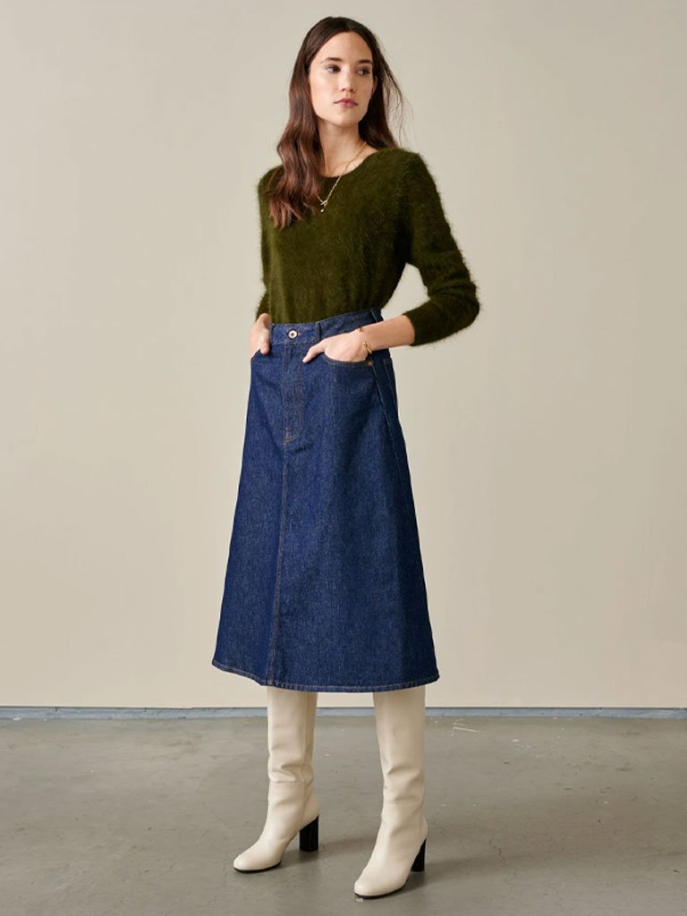80s Outfit Inspiration, Party Ideas Bellerose Patty Skirt - Blue Rinse $152.00 AT vintagedancer.com