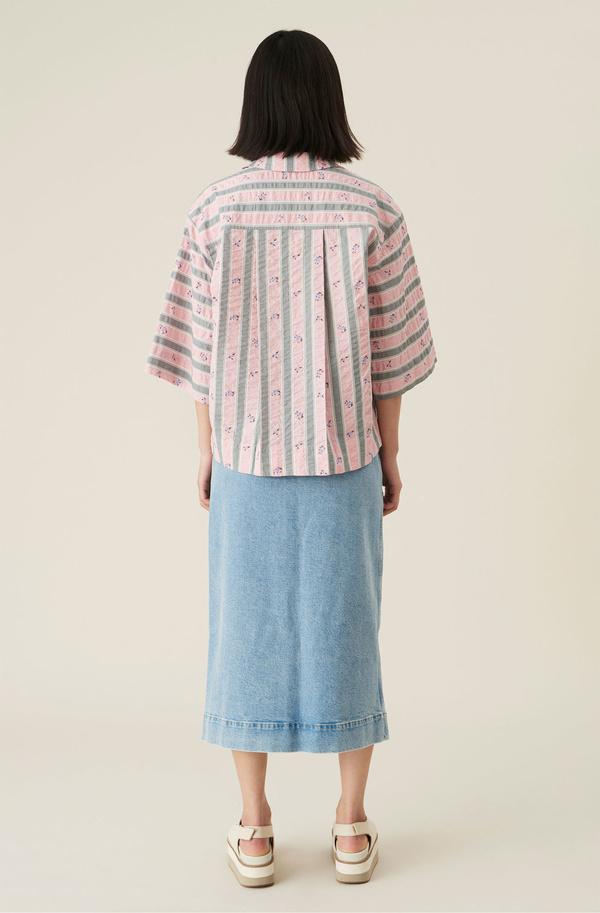 Ganni Seersucker Pull Over Shirt - Pink Print