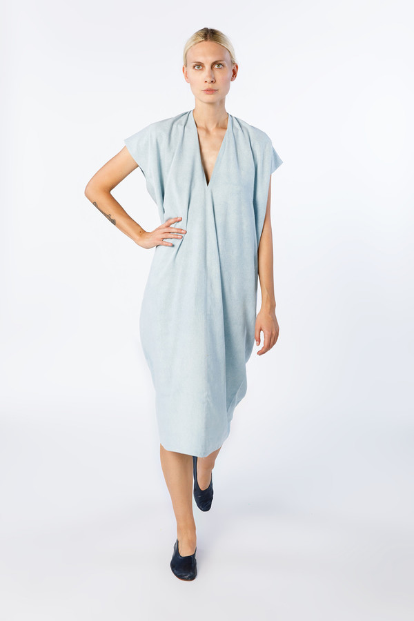 49e6933b5da Miranda Bennett In-Stock  Everyday Dress - Silk Noil in Light Indigo ...