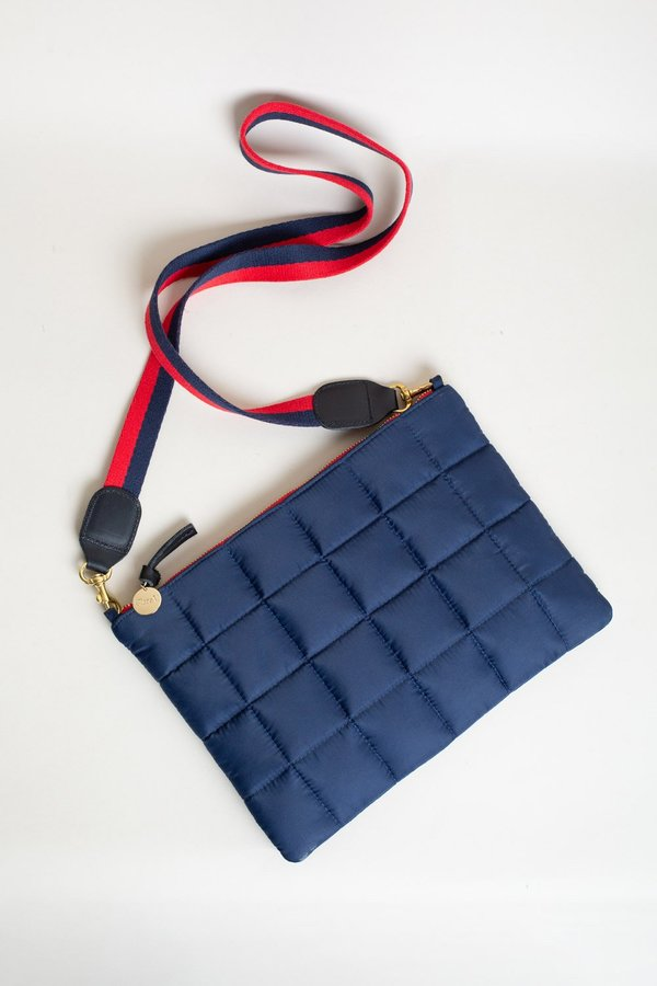 Clare V. Flat Clutch with Tabs - Navy Quilted Puffer