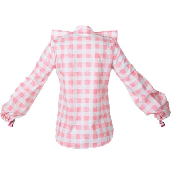 NeuByrne Gingham Bow Blouse - Pink