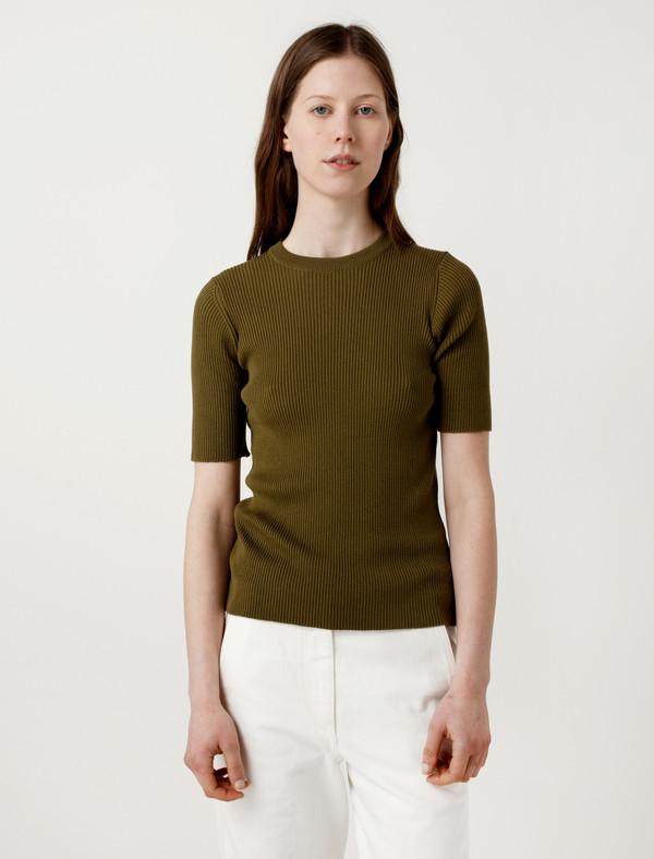 Sunspel cotton silk rib t shirt olive garmentory for Cotton silk tee shirts