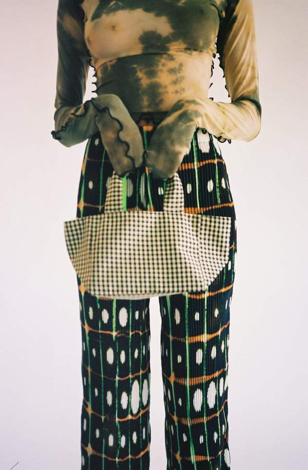 Coming of Age Gingham Reversible Mini Tote - Green
