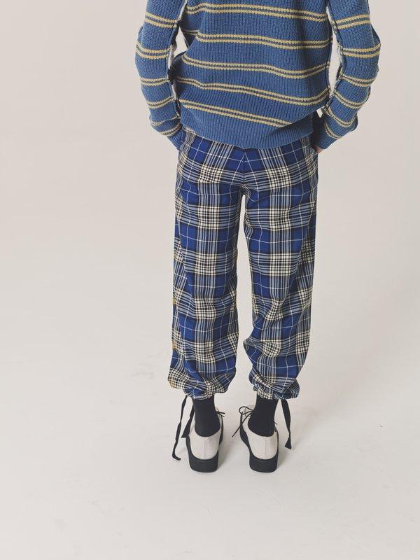 Marni Check Trouser - Yellow Spray Grid Front/Royal Blue