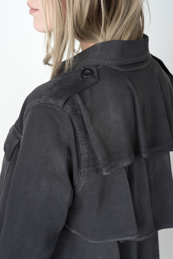 0496e86cb7 amo denim Ruffle Army Shirt Jacket In Washed Black. sold out. amo denim