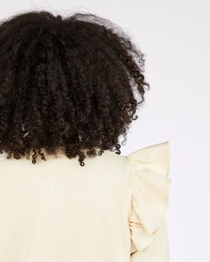 Clare V. Un Paradis Perdu Et Retrouve Ruffle Sweatshirt - Cream/Black