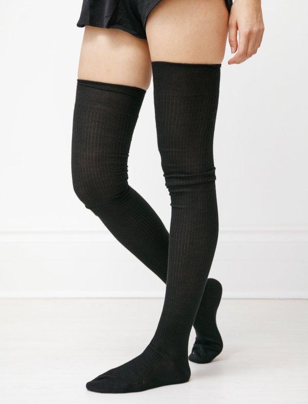 Maria La Rosa Cashmere Silk True Thigh Highs SOCKS - BLACK