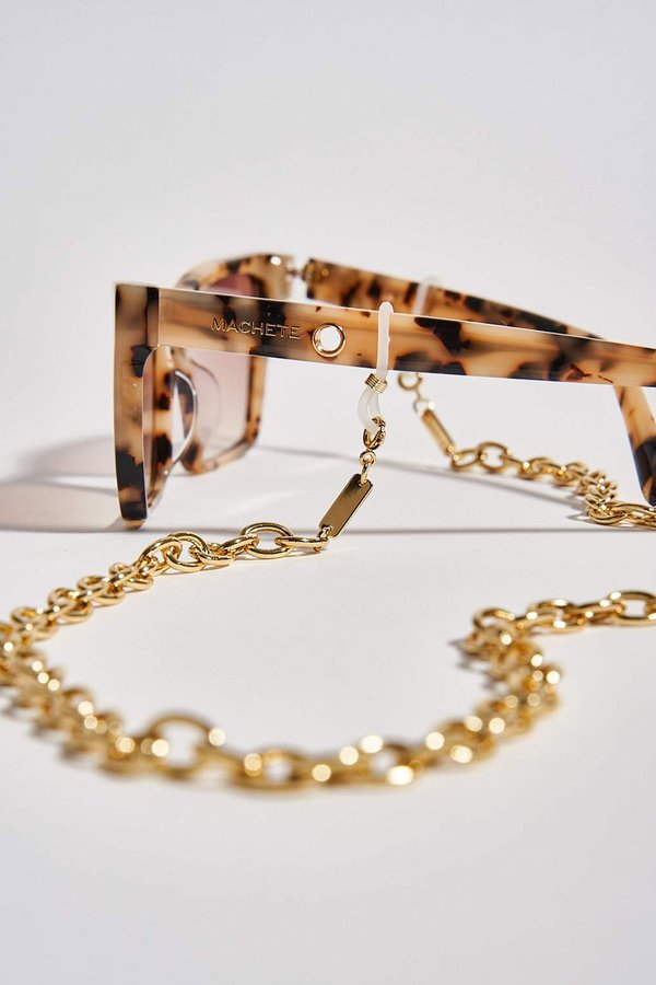 Machete Petite Paperclip Sunglass Mask Chain - Gold