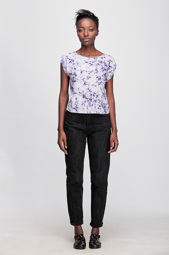 Osei-Duro Maena Shell in Navy Crackle