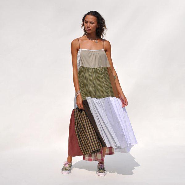 LA RÉUNION Neutral Patchwork Dress No. 30