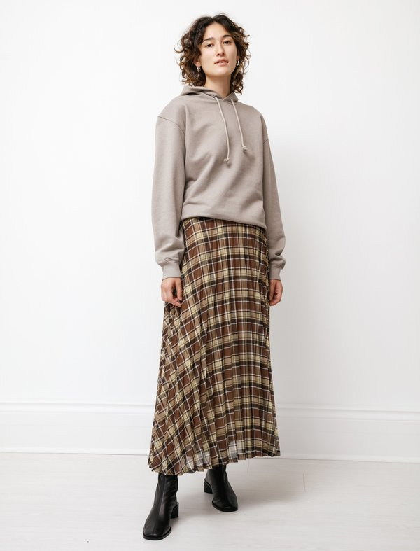 Auralee Wool Recycled Poly Sheer Cloth Pleated Skirt - Check