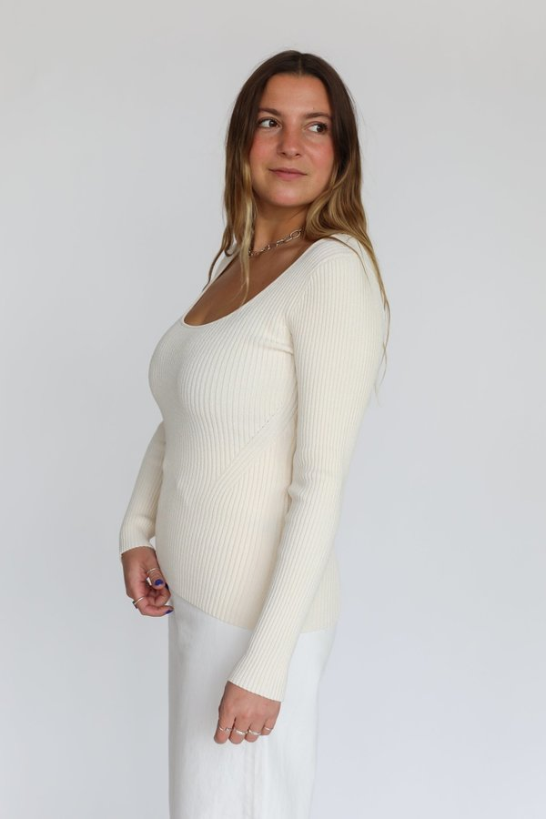 Ganni Melange Knit Scoop Sweater - Vanilla Ice