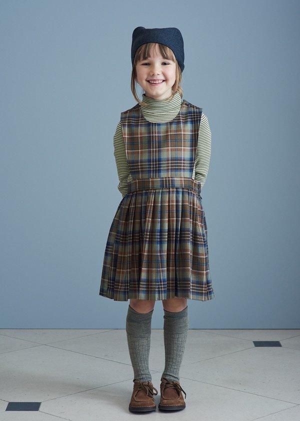 KIDS Caramel Jupiter Dress - Forest Check