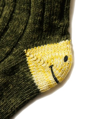 Unisex Kapital 56 Yarns MA-1 HEEL SMILE Socks - Khaki