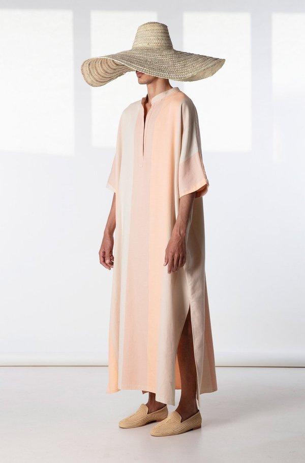 marrakshi life nero collar caftan dress - pink stripe