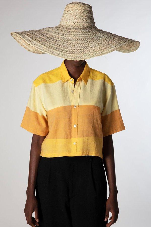 Marrakshi Life button down crop top - yellow stripes