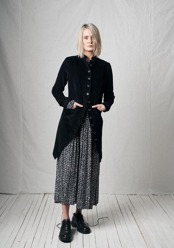 Pal Offner Corduroy Button Down Penguin Coat - Black