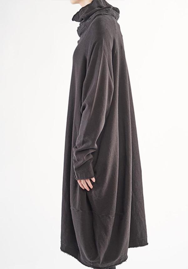 Rundholz Black Label Oversized Button Detail Funnel Neck Bubble Dress - Black