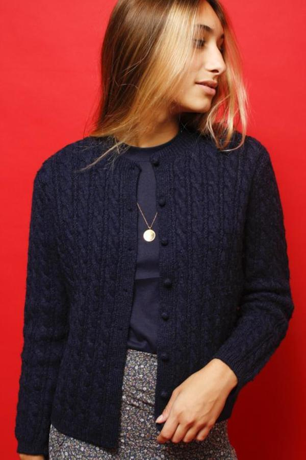 Vintage Wool Cable Knit Cardigan - Navy