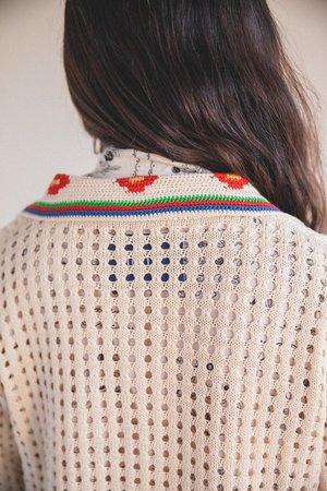 Bode Potted Flower Crochet Overshirt