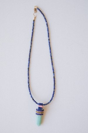 Robin Mollicone Sodalite Necklace With An Aventurine Crystal