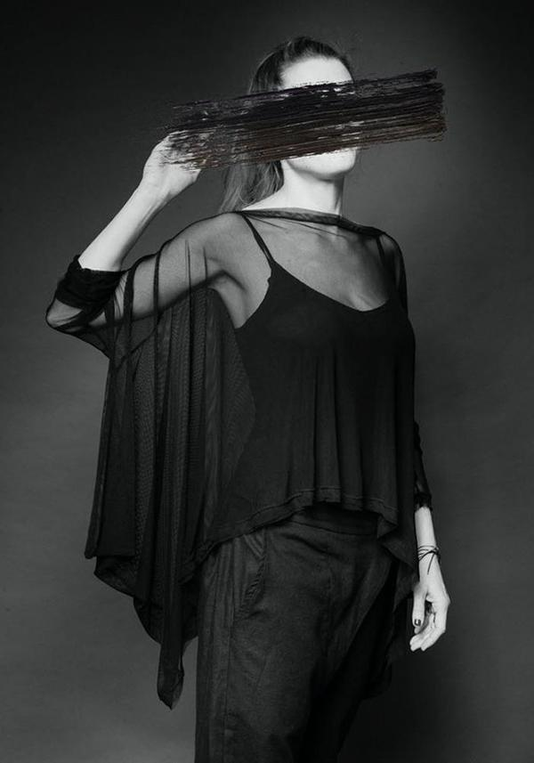 MAKS Asymmetric Sheer Mesh Long Sleeve Batwing Top - black