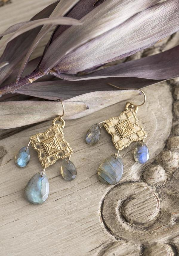 Lulu Designs Bronze and Labradorite Rosario Earrings - Bronze