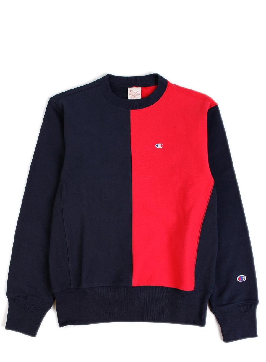 Champion Reverse Weave Split Crewneck Sweatshirt Navy Red