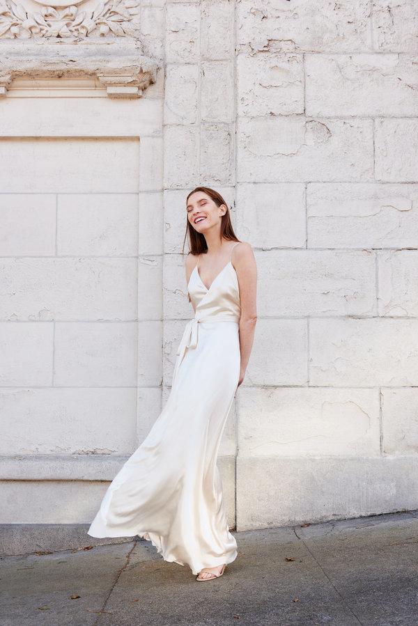 ebab5f648dd5 Kamperett Nuit Silk Satin Wrap Dress - Ivory | Garmentory